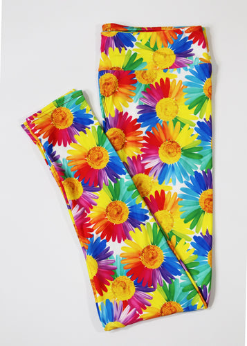 Colorful daisies full length legging