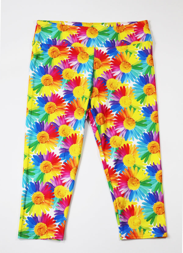 Colorful daisies capri legging