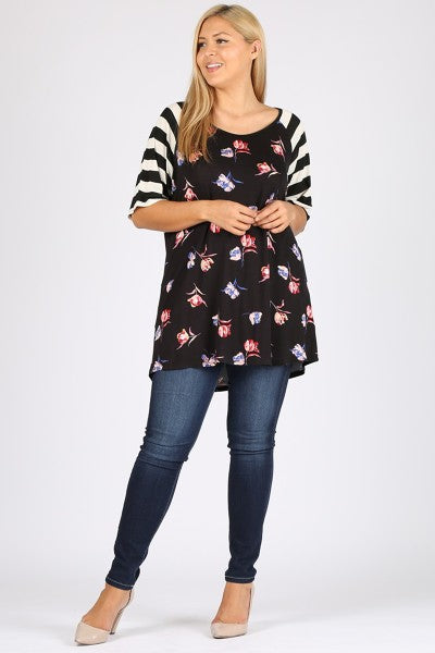 Stripe Sleeve Floral Tunic Top 3x-5x only