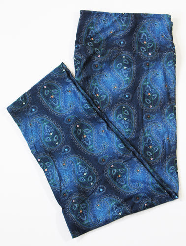 Denim Paisley capri legging with pockets