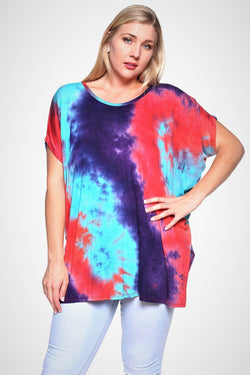 Red/purple/teal tie dye top