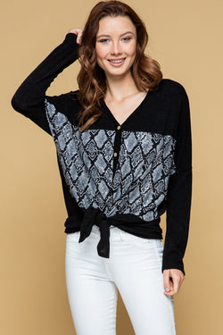 Snake Skin Button-Up Long Sleeve Top