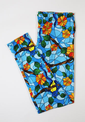 Frogs in Stained Glass full length legging