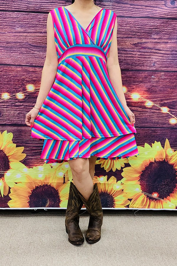 Multi-Color Striped Dress - GJQ7101