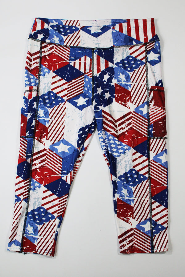 Patriotic capri legging with pockets