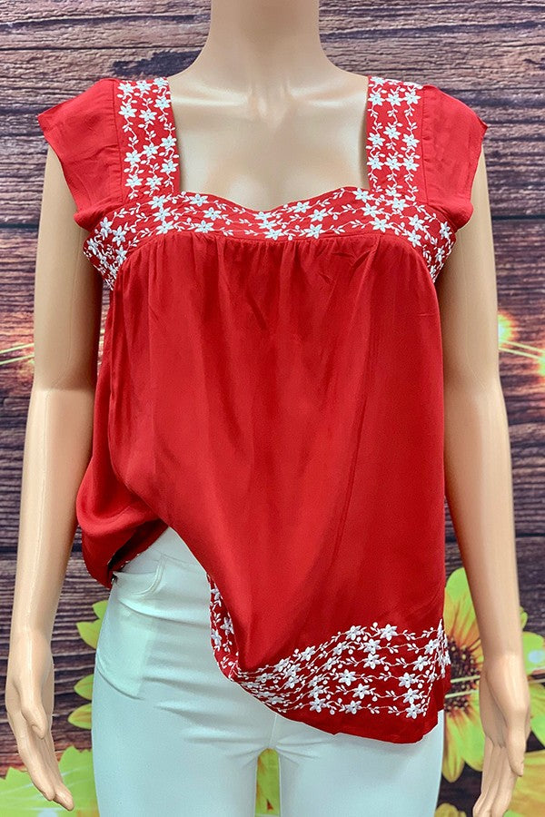Red Sleeveless Blouse With White Floral Embroidery - SD6944