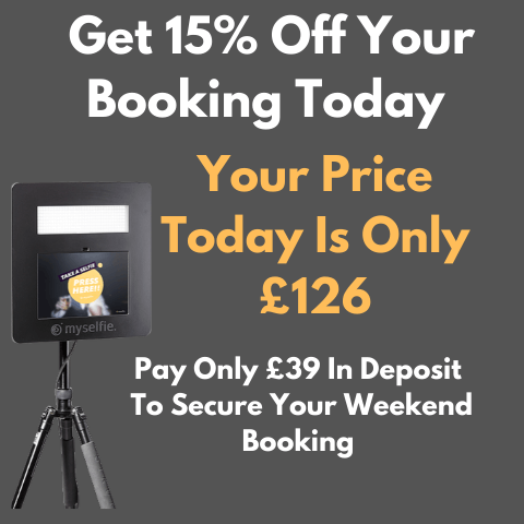 Hire a myselfie Open Photo Booth CYBER MONDAY Offer 15% OFF (Booking Deposit ww)