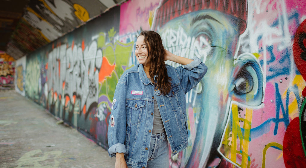 La pimbêche  Jacket : One-of-a-kind hand-painted vintage jean jacket, made with love by La pimbêche.