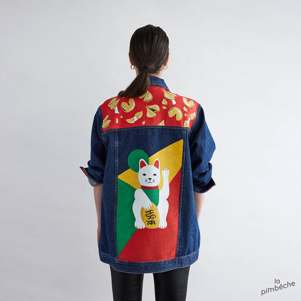 Luck Chinese cat jacket hand painted by La Pimbêche artist from Montreal.