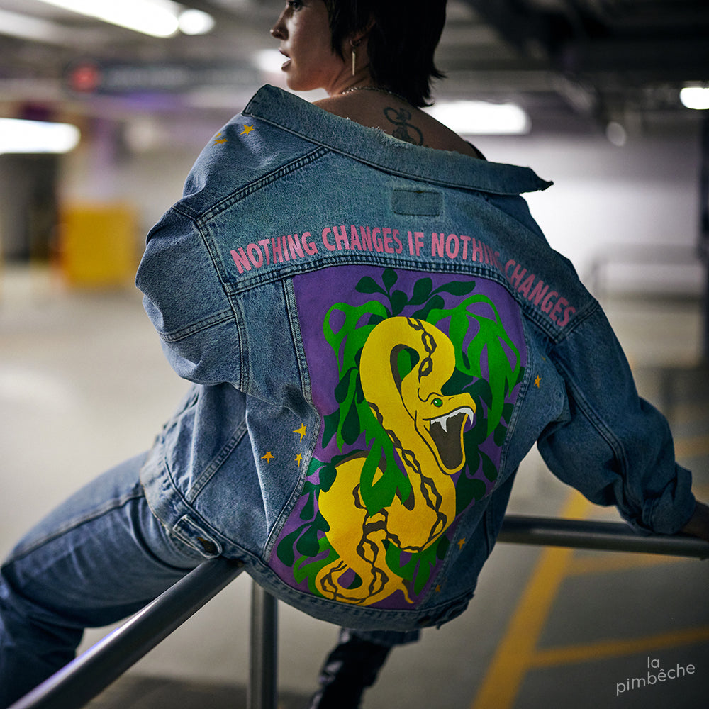 Nothing changes is nothing changes thrifted jacket hand painted from La Pimbêche artist from Montreal