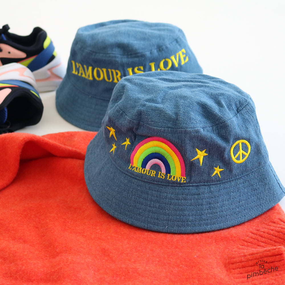 Bucket denim hat from La Pimbêche Montreal artist brand local  Modifier le texte alternatif