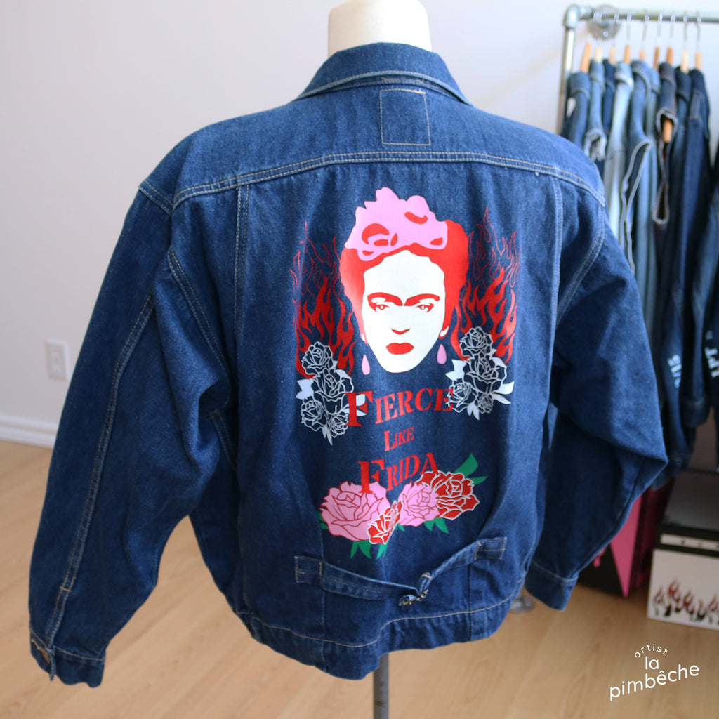 Upcycle one of a king jacket vintage Frida Kahlo Fierce Like Frida by La Pimbêche