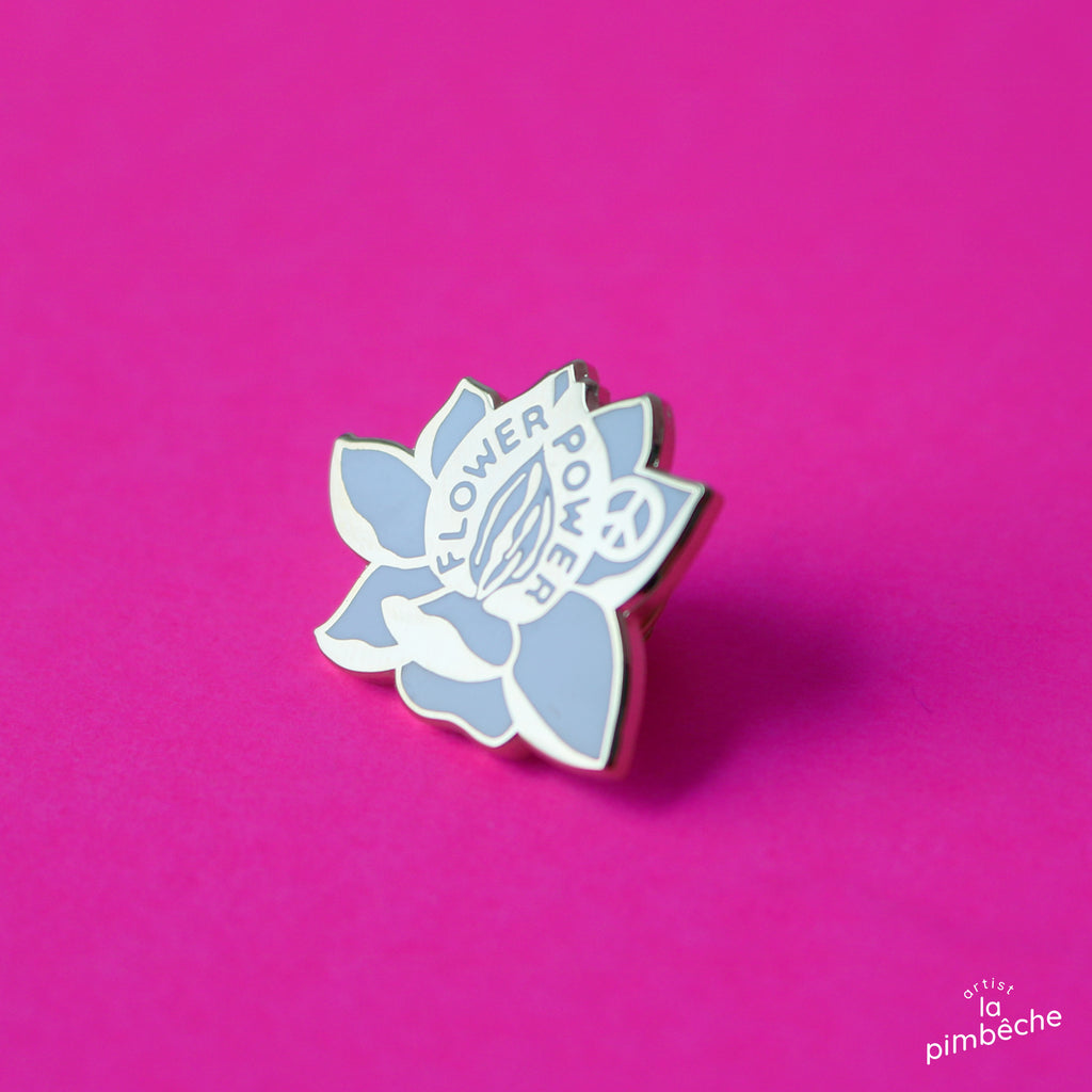 Flower Power pin enamel metal pin from La Pimbêche Montreal artist feminist pin peace self-love