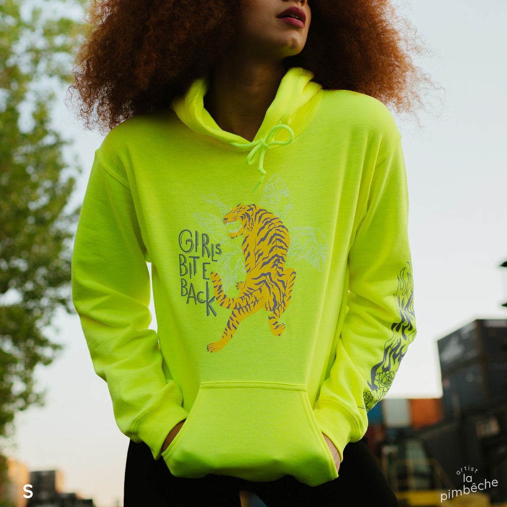 Neon green yellow hoodie girls bite back tiger design La Pimbêche Montreal local artist