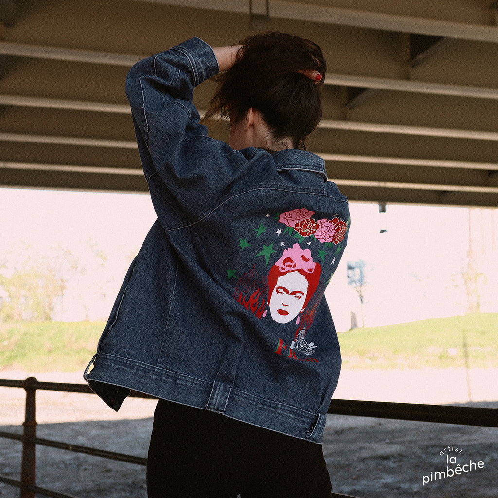 Thrifted Calvin Klein vintage denim jacket upcycled jean jacket by La Pimbêche Montreal artist