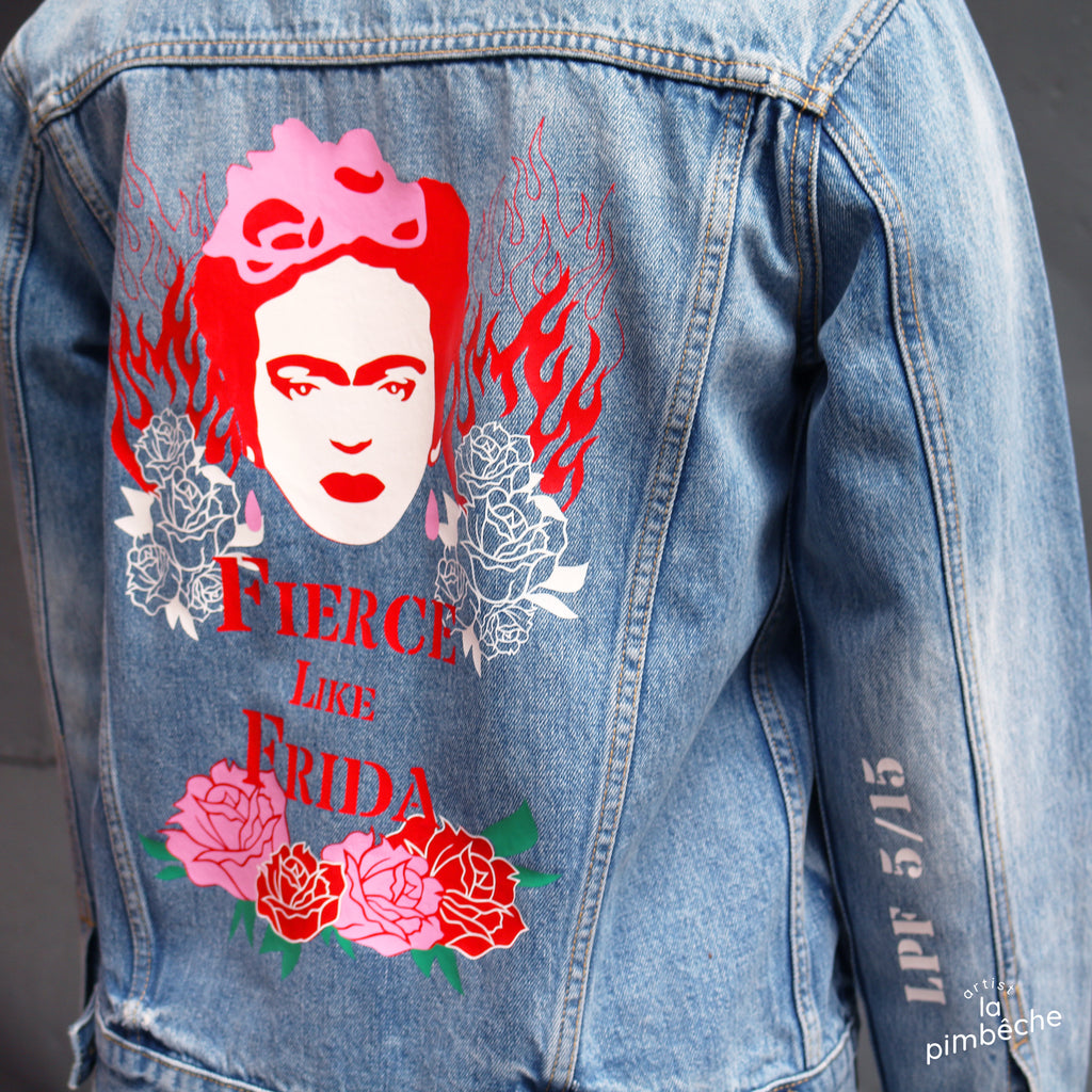 Firda Kahlo Fierce Like Frida denim jacket upcycled thrifted jacket art of denim jacket from La Pimbêche