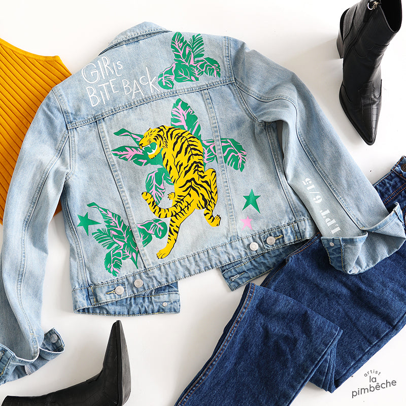 Tiger jacket vintage upcycled thrifted La Pimbêche artist Montreal one of a kind jacket light denim