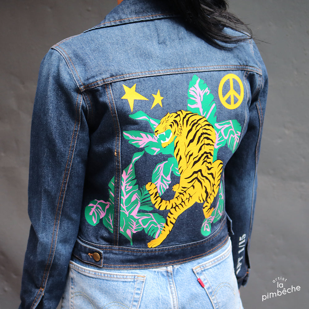 Thrifted vintage denim jacket upcycled jean jacket by La Pimbêche Montreal artist