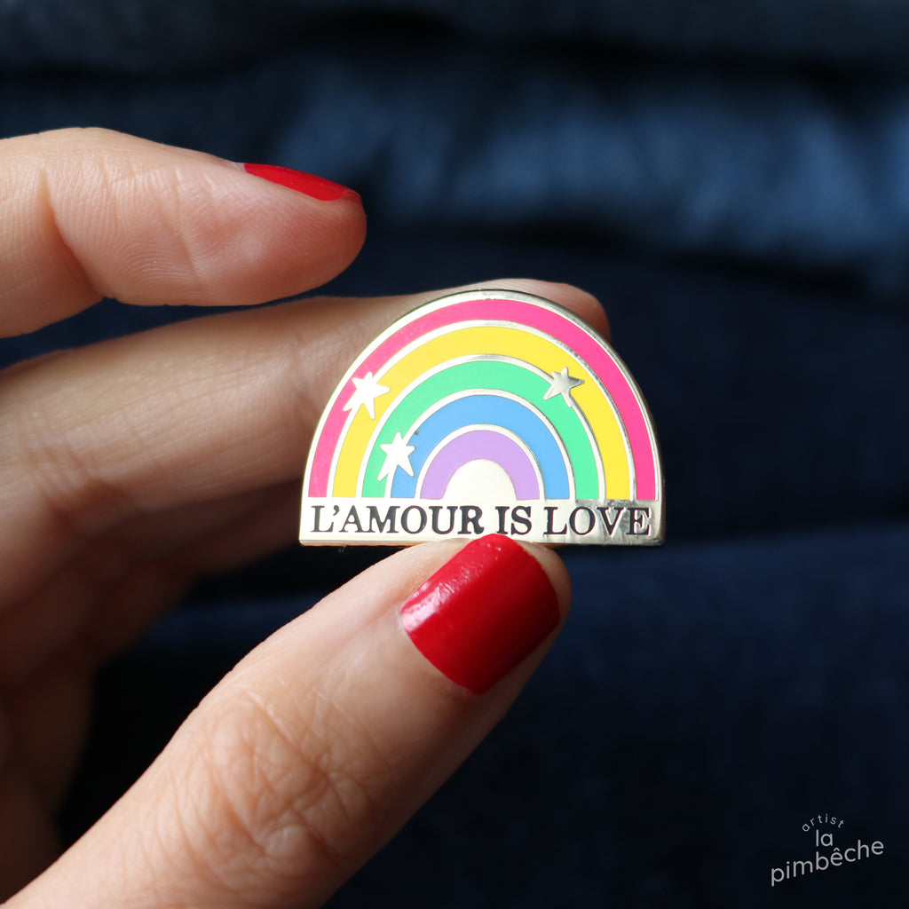 L'amour is love pin from La Pimbêche Pride feminist artist from Montreal, Canada