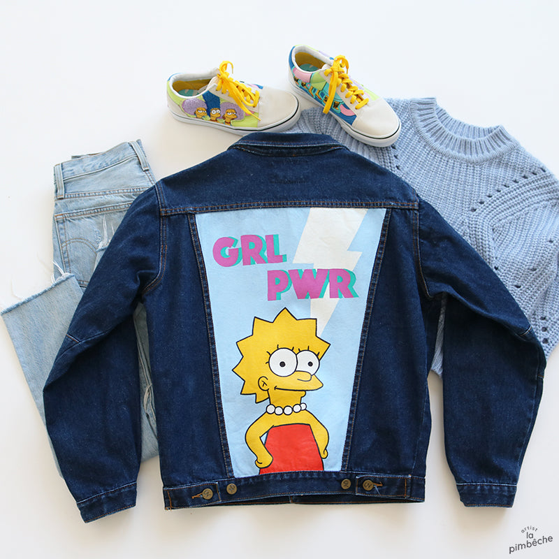 Lisa Simpson thrifted jacket from La Pimbeche Montreal artist