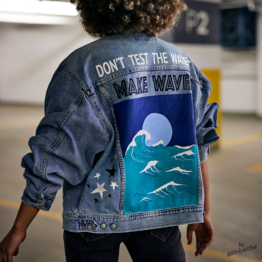 don't test the waters make waves thrifted vintage jacket by la pimbeche artist from montreal