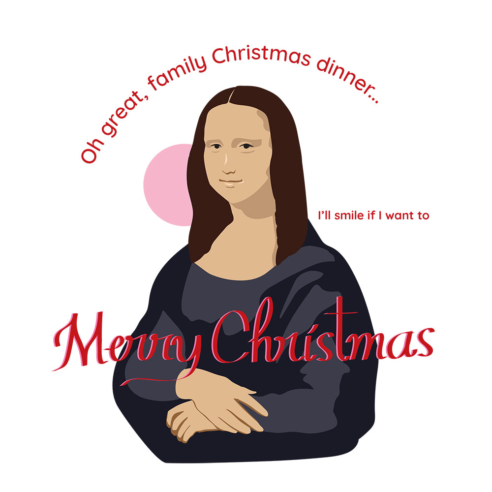 Holiday Greeting cards from La Pimbêche. Mona Lisa Christmas card.