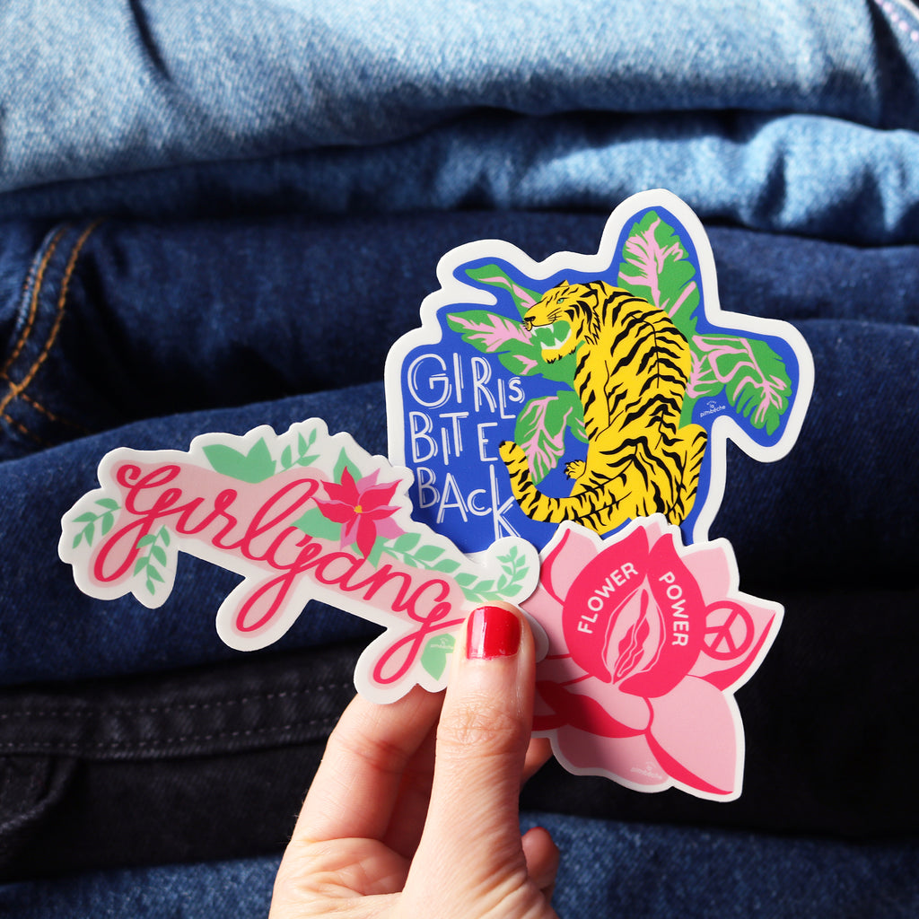 Trio Pack of Stickers - Tiger Girlgang Flower Power