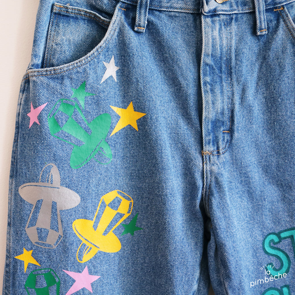 Vintage wrangers jeans bottom hand painted handpainted denim jeans upcycled rainbow size 32 men by La Pimbêche