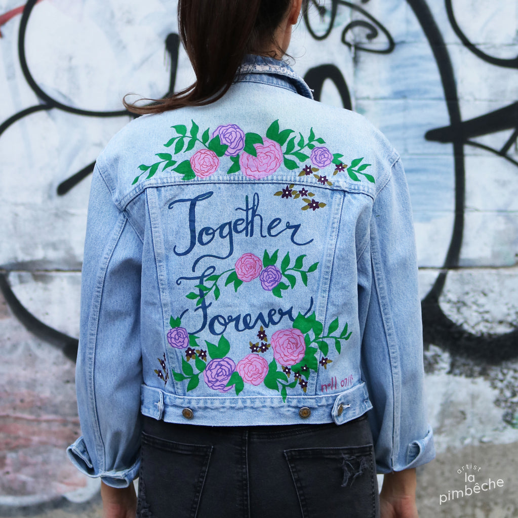 La pimbêche jacket painted denim one-of-a-kind jean jacket: Together Forever wedding jean jacket