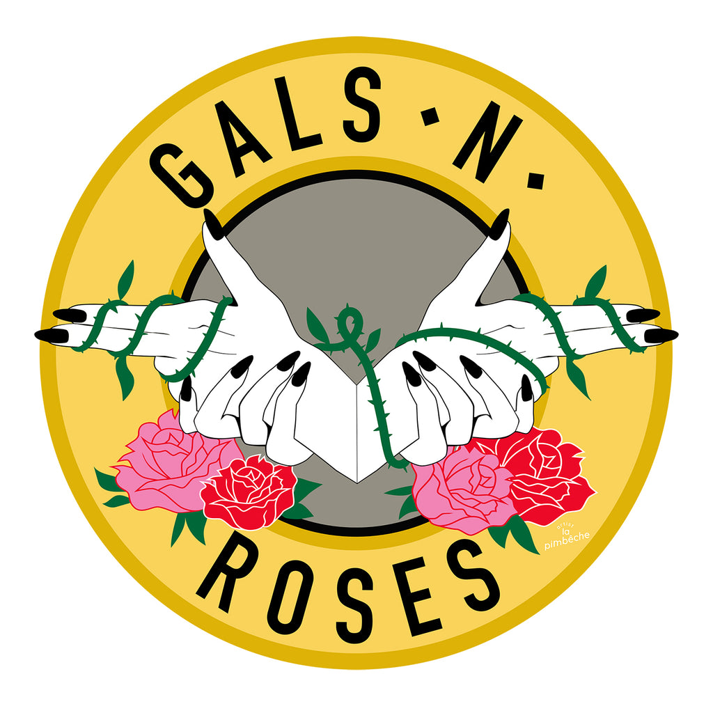 Gals N Roses Guns and roses artwork from La Pimbêche Montreal artist