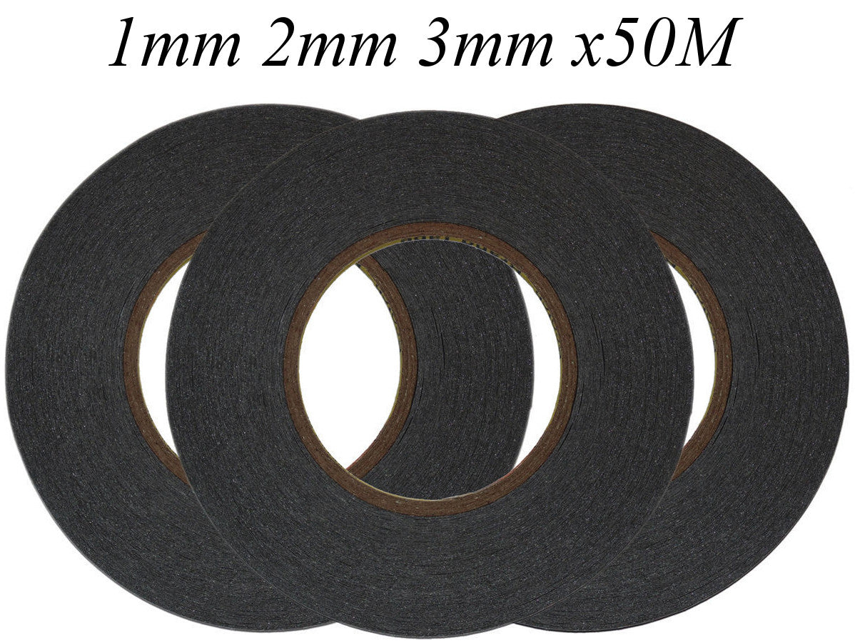 Games/&Tech 1mm x 50M Black 3M Cell Phone Sticker Double Sided Tape Adhesive Repairh