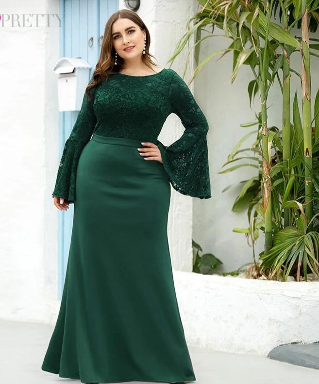 Mermaid O-Neck Flare Sleeve See-Through Lace Plus Size Formal Dresses