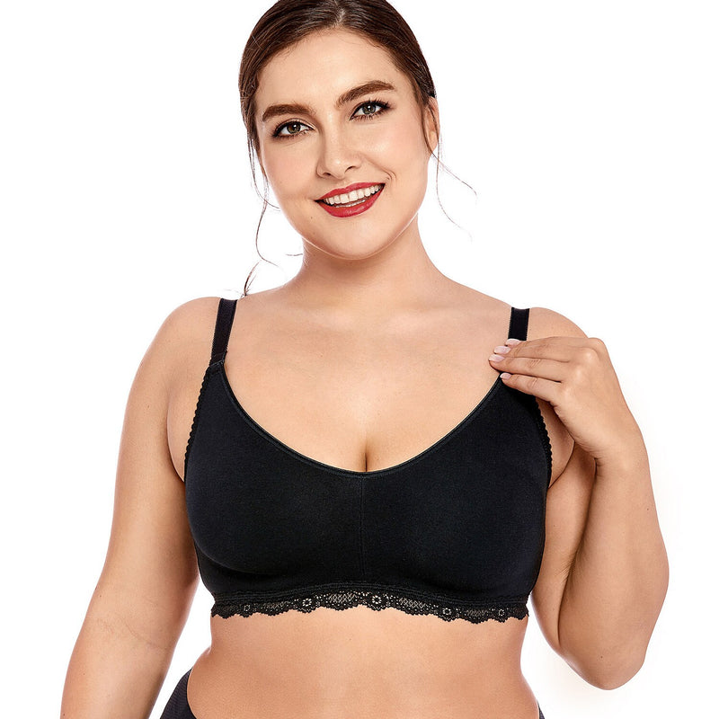 Women's Lace Soft Wirefree Non Padded Full Coverage Plus Size Cotton Bra