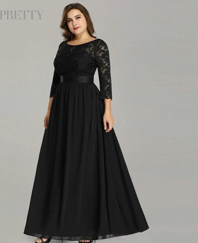 Long Sleeve Winter Plus Size Formal Dress