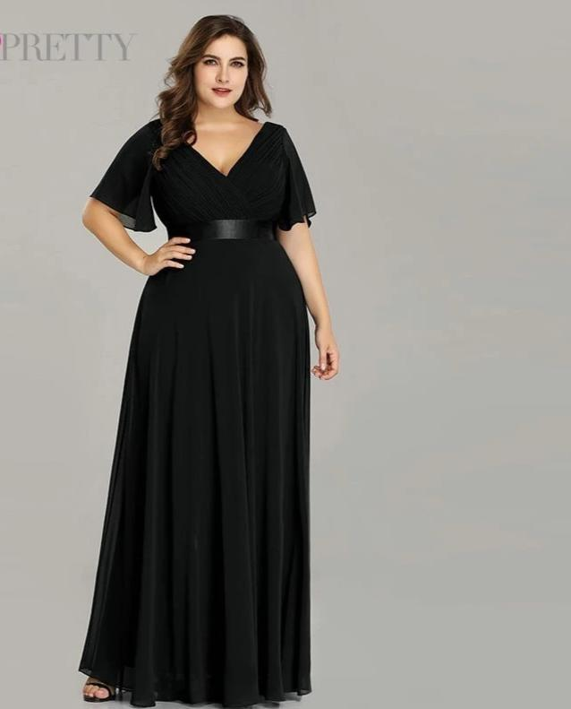Glamorous double V-neck Chiffon A-line Plus Size Prom Dresses