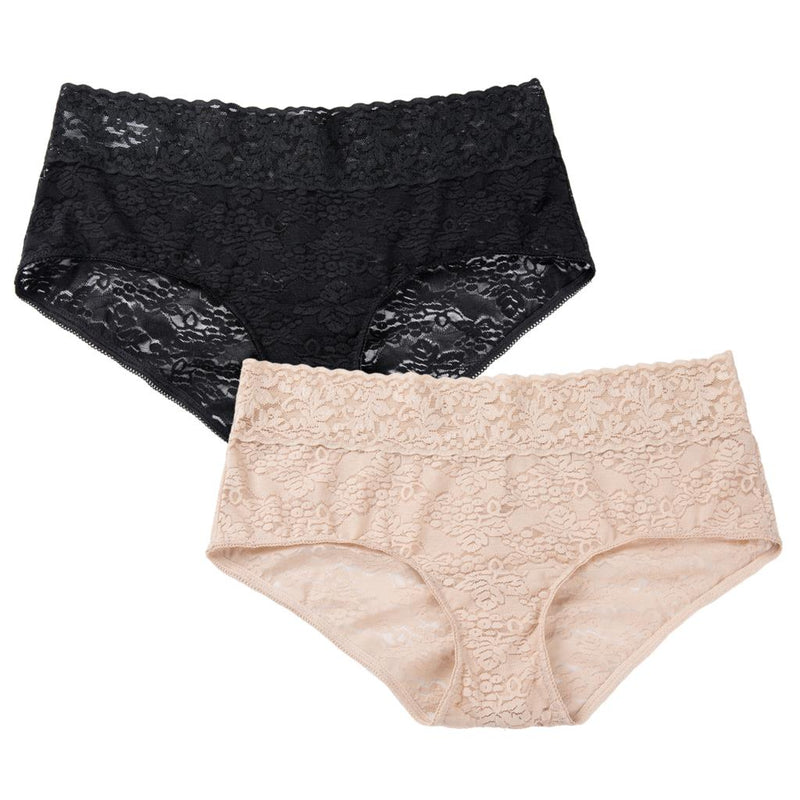 Women's 2 Pack Plus Size Sexy Low Rise Sheer Lace Breathable Panties Hipster