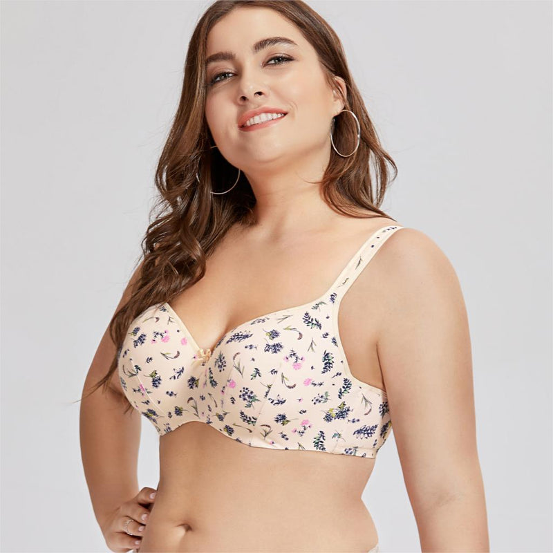 Women's Balconette Full Figure Underwire Lightly Lined Floral Smooth Contour Bra