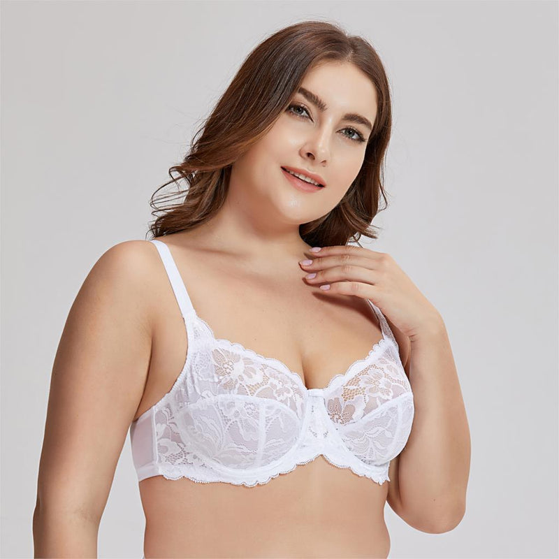 Women's Plus Size Non-Padded Underwire Sheer Lace Balconette Bra