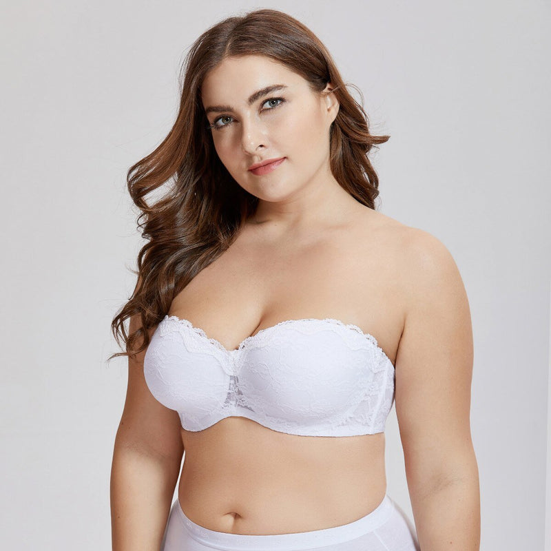 Women's Underwire Padded Lace Convertible Bridal Multiway Strapless Bra Plus Size