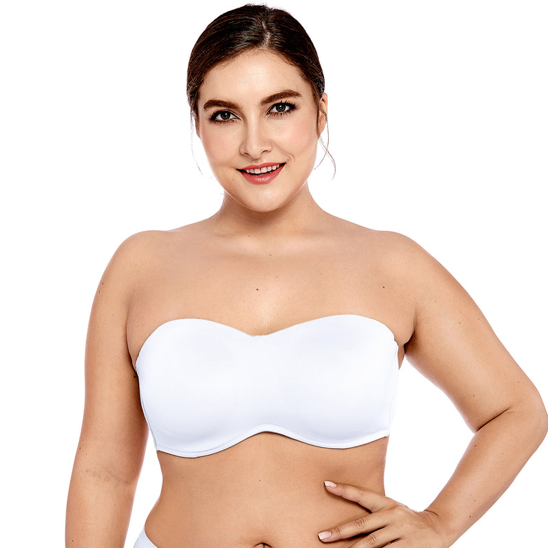 Women's Smooth Seamless Invisible Full coverage Underwire Unlined Strapless Minimizer Bra Plus Size