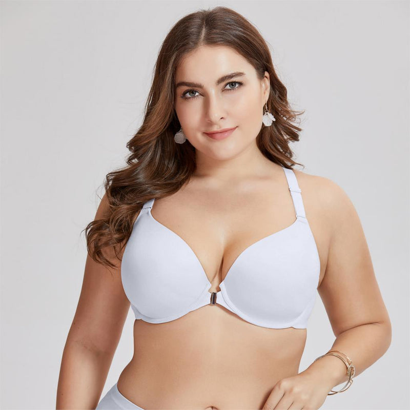 Women's Smooth Foam Full Coverage Underwire Front Closure Racerback Bra Plus Size