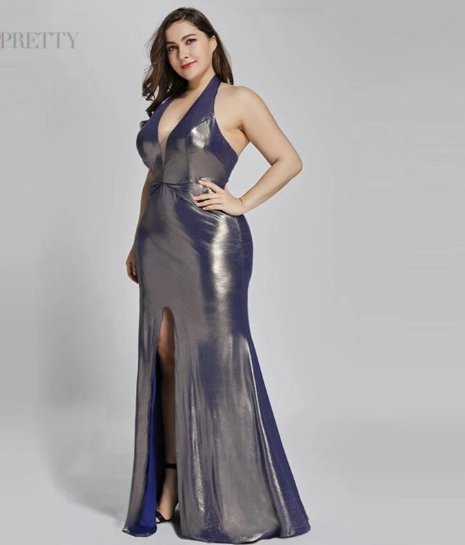 Long  Mermaid Sparkle Reflective Plus Size Evening Dresses