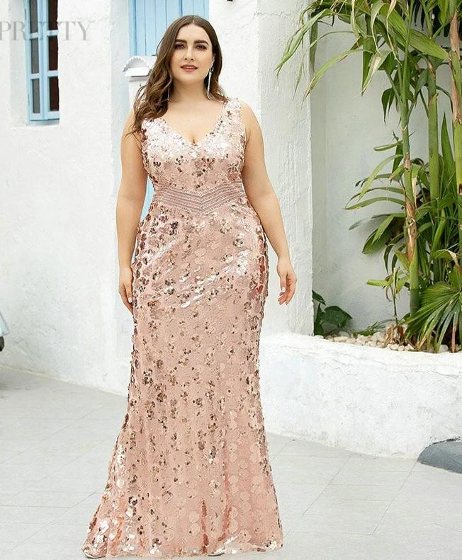 Sequined Sleeveless Double V-Neck Sparkle Mermaid Plus Size Luxury Prom Dresses