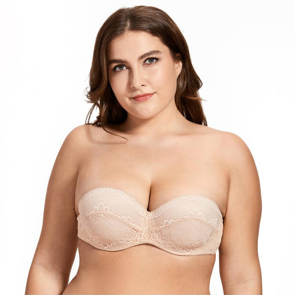 Women's Slightly Padded Underwire Convertible Multiway Lace Strapless Bra