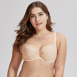 Women's Non Padded Full Coverage Floral Underwire Lace Balconette Bra Plus Size
