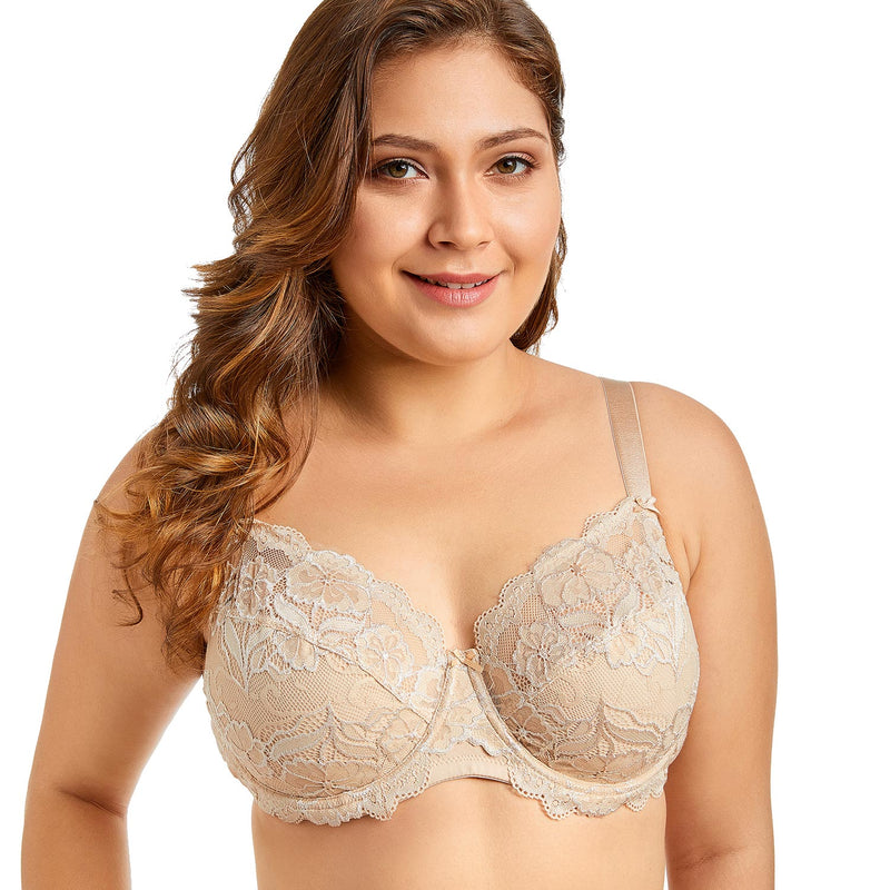 Women Full Coverage Underwired Non-Foam Plus Size Floral Lace Bra