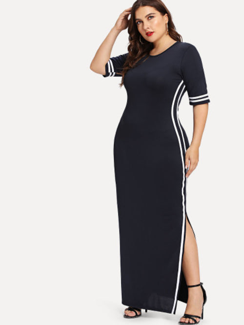 Plus Striped Tape Detail Split Dress