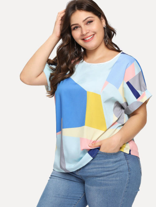 Plus Patchwork Roll Up Sleeve Blouse
