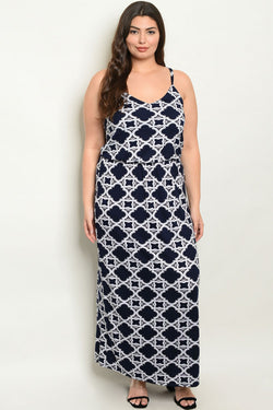 NAVY WHITE PRINT PLUS SIZE DRESS