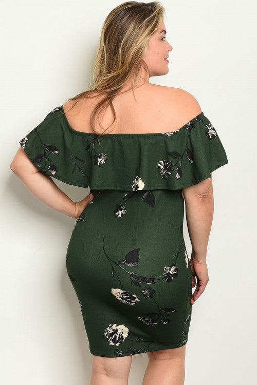 GREEN WITH FLOWER PRINT PLUS SIZE DRESS